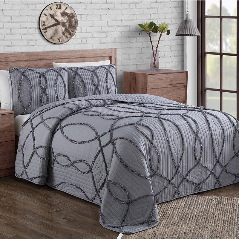 dark grey channel embroidery quilt