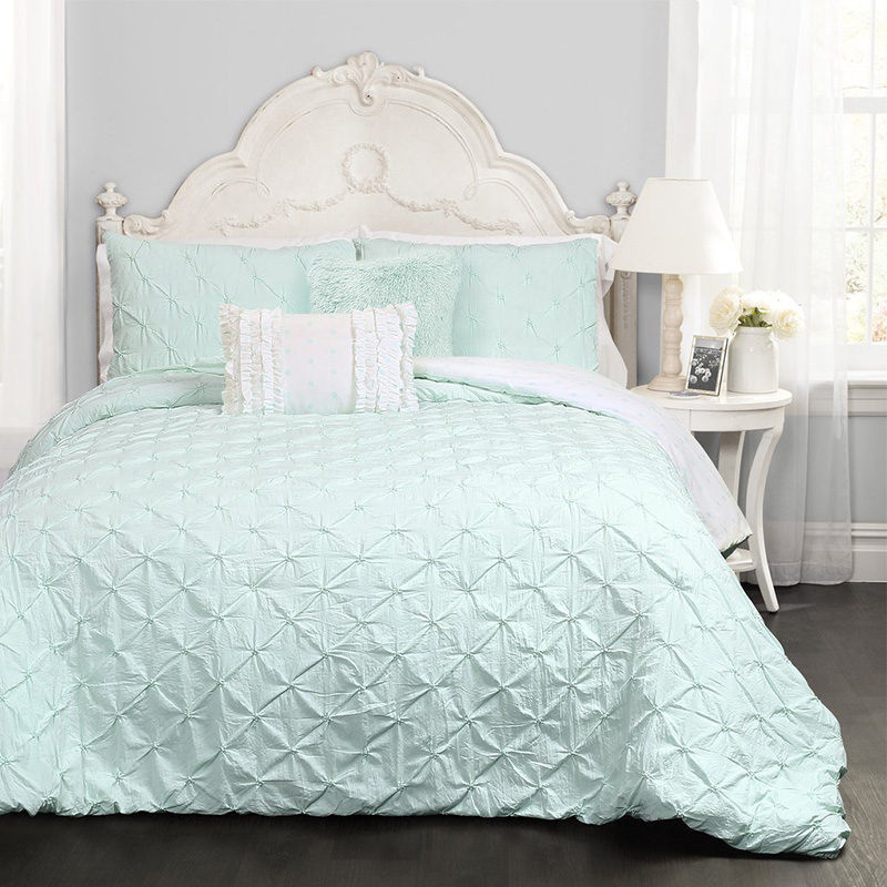 aqua pintuck bedding set