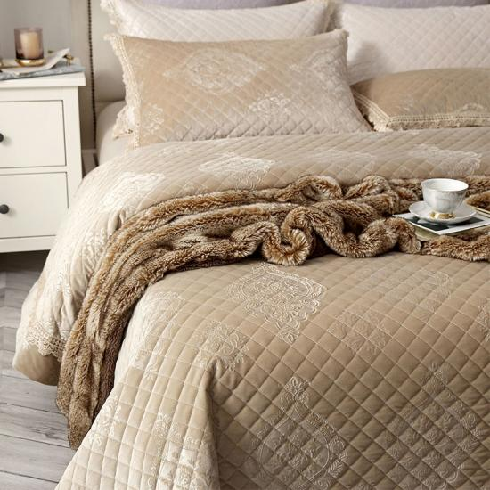 Super Soft Embossed Faux Fur Quilted Throw